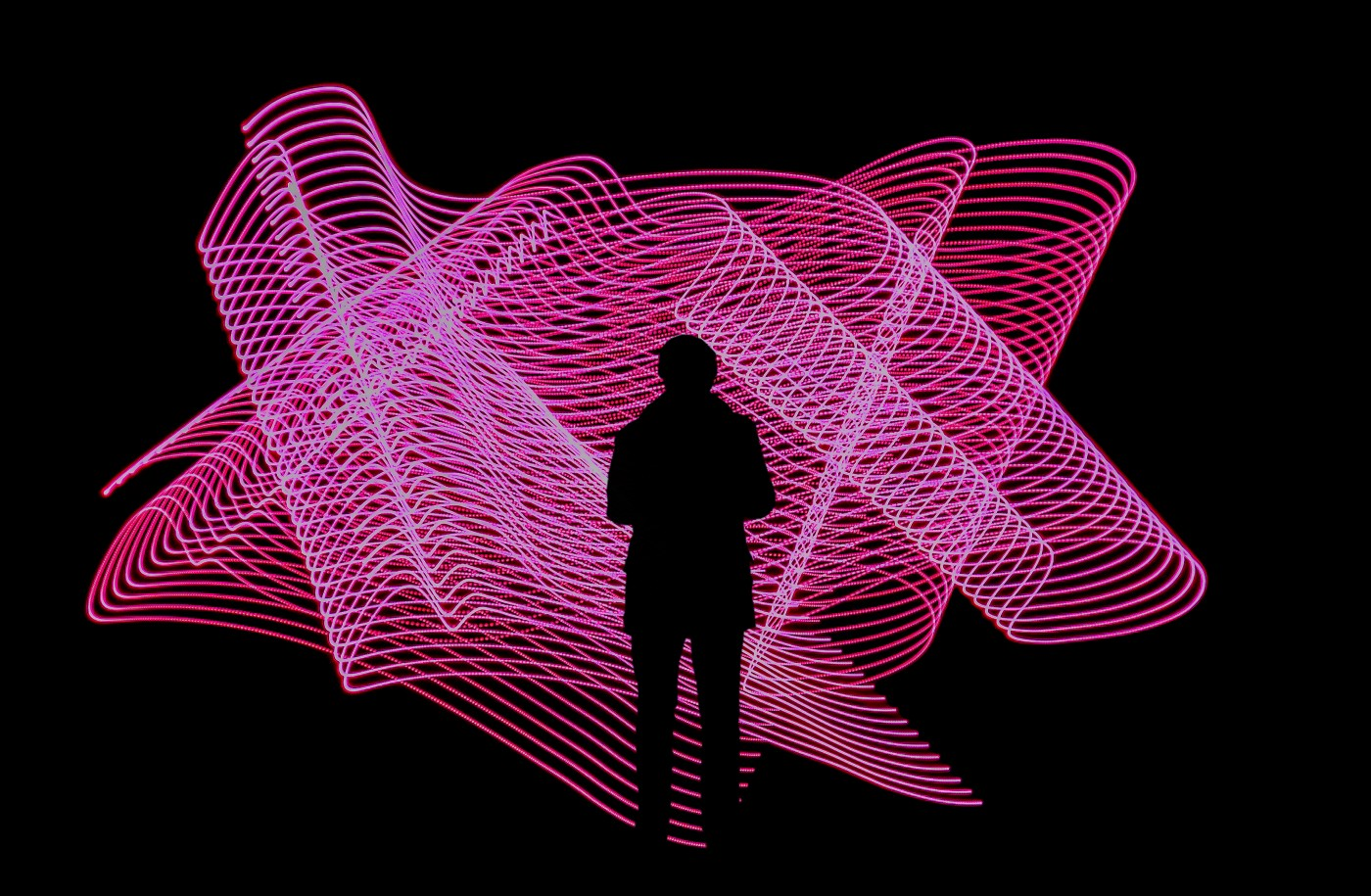 silhouette in front of laser grid