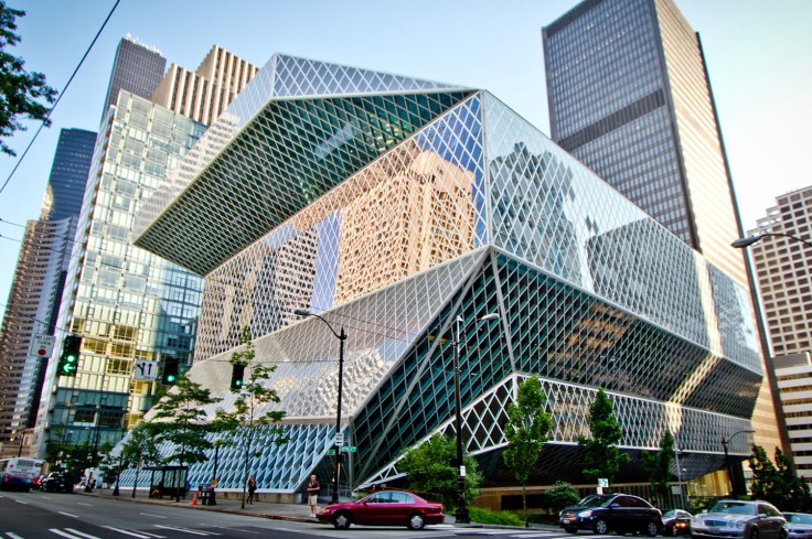An exterior shot of the Seattle public library building.