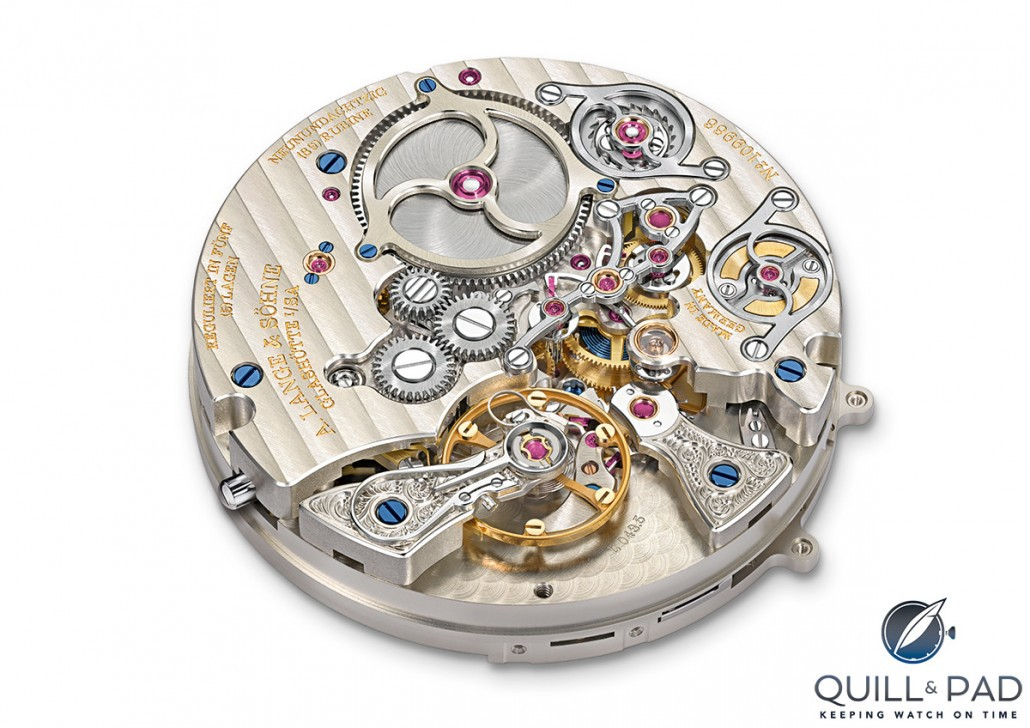 The beautifully finished movement of the A. Lange & Söhne Zeitwerk Minute Repeater