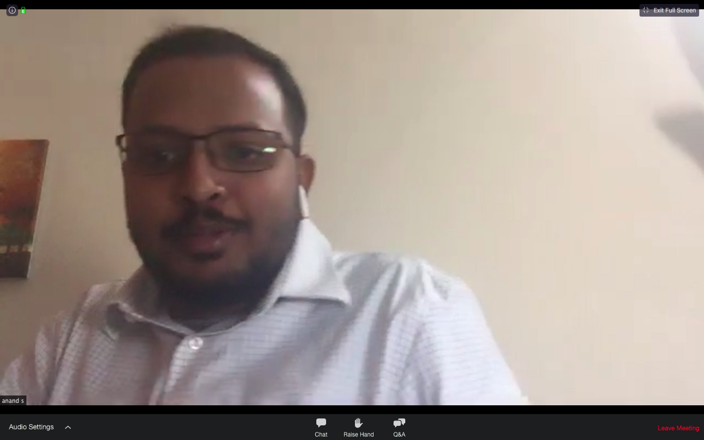 Mr. Anand Subramanian speaking at the OMI webinar