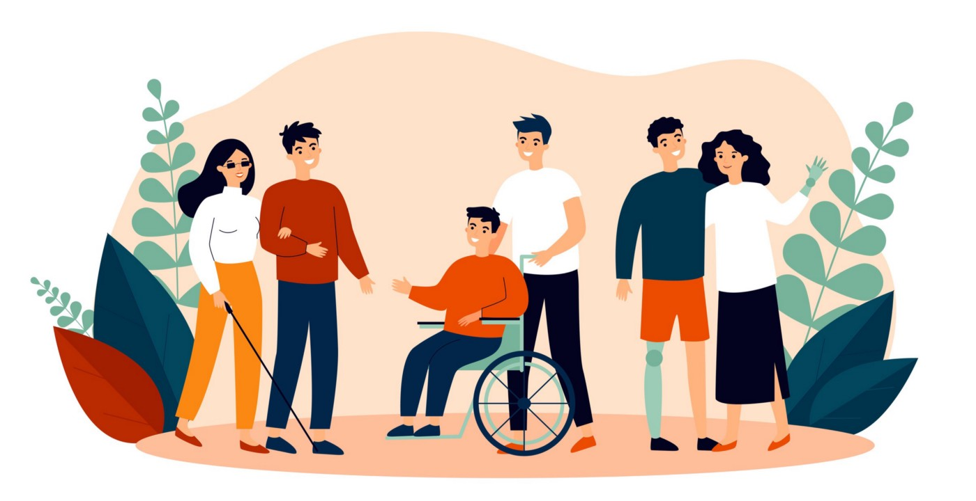 Graphic representation of individuals with disability for the comunity as a whole