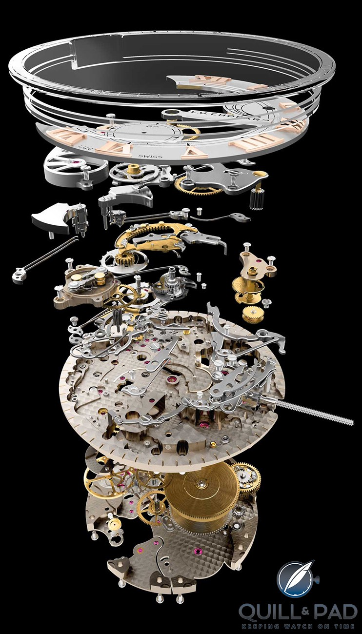 Exploded view of the movement of the Chopard LUC Full Strike minute repeater
