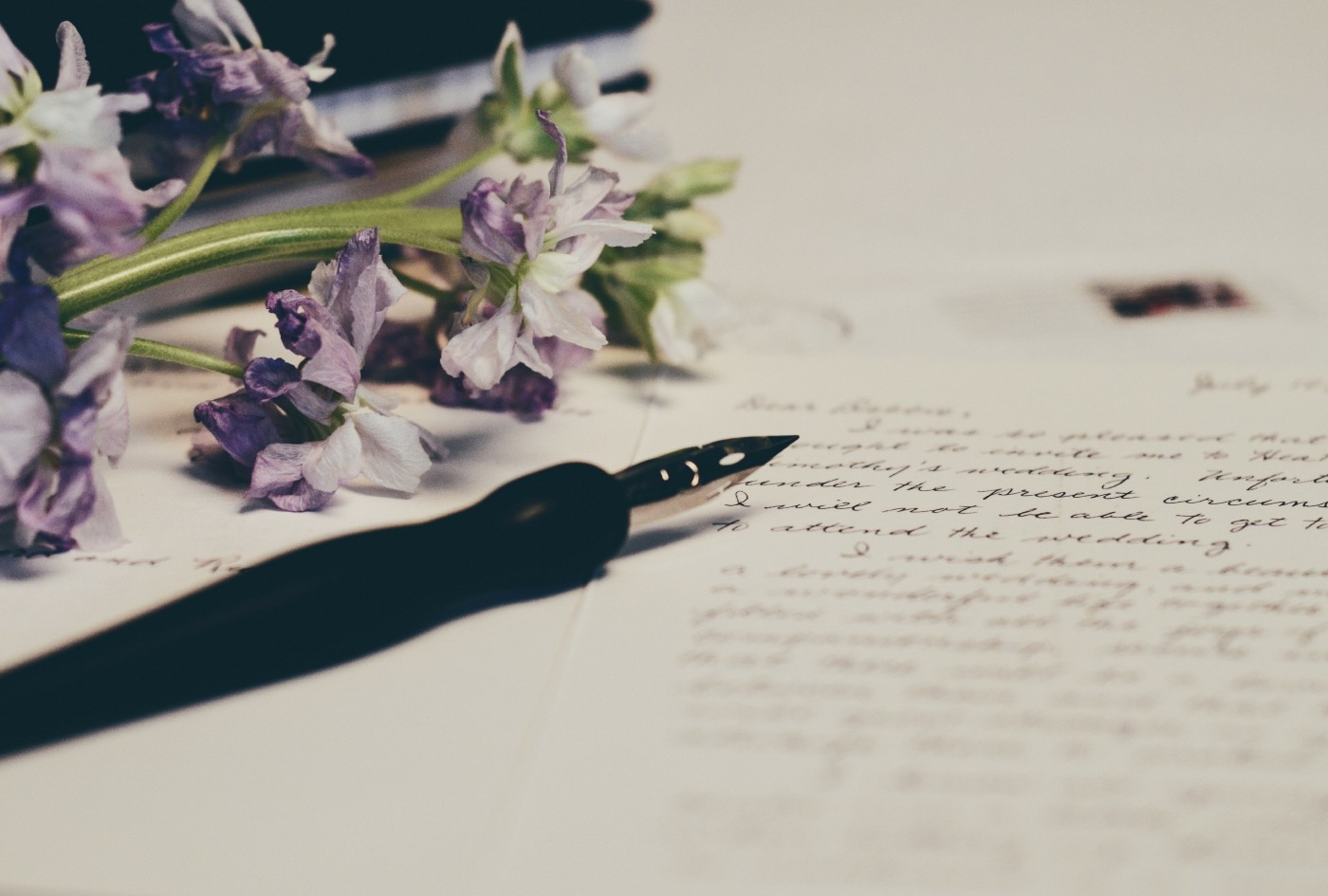 A fountain pen rests on a handwritten letter with some light purple flowers.