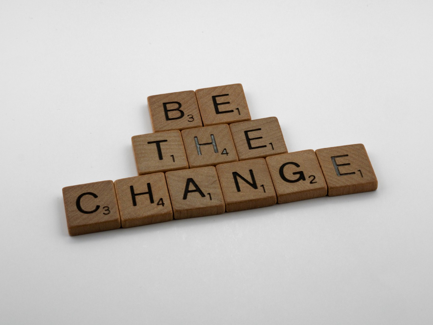 "Scrabble tiles spelling out the words, ""BE THE CHANGE"""