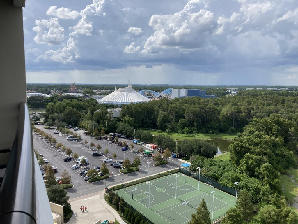 looking down on the tennis courts at Bay Lake Tower Grand Villa
