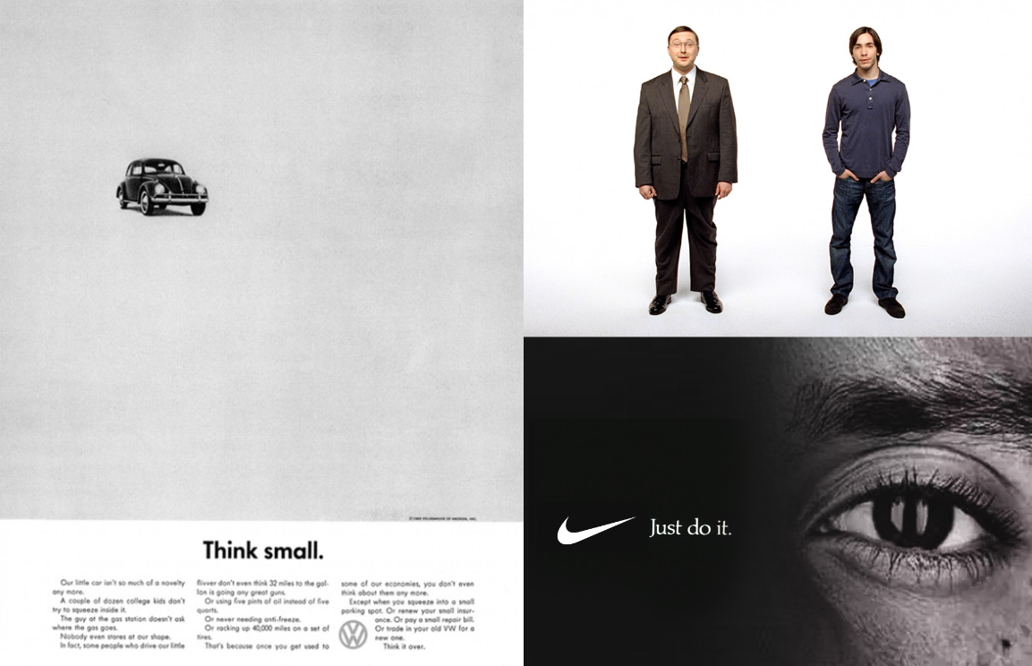 Images from the Think small, Get a Mac, and Just do it campaigns.