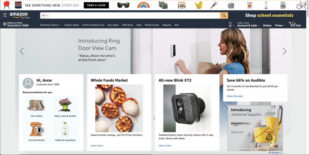 My Amazon homepage, which has a few task-based elements to get me right to recommendations and orders and accounts, but also giant ads for a door view camera, whole foods market, a security camera, Audible files, and janitorial supplies.