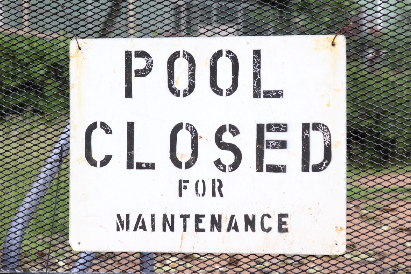 "Sign: ""Pool Closed for Maintenance"""