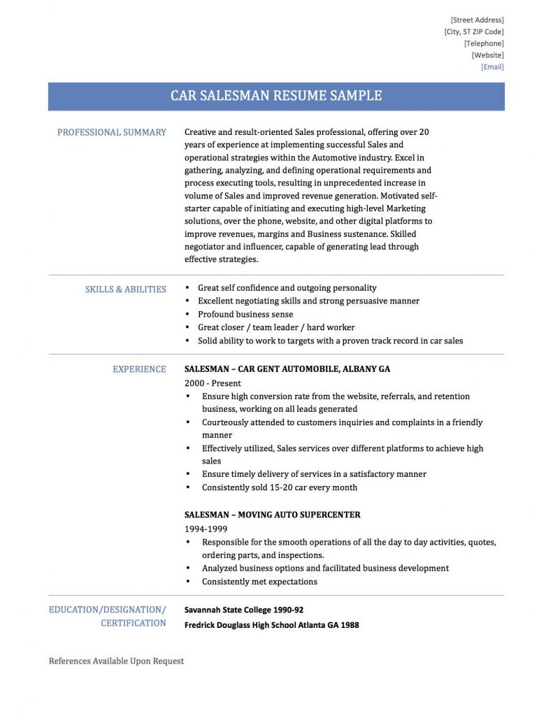 How To Write A Car Salesman Resume Online Resume Builders Medium