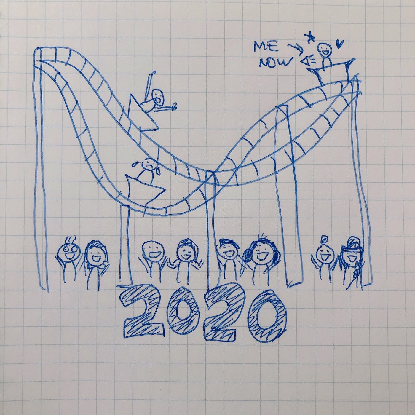 "Roller coaster and people down cheering with the word ""2020"""