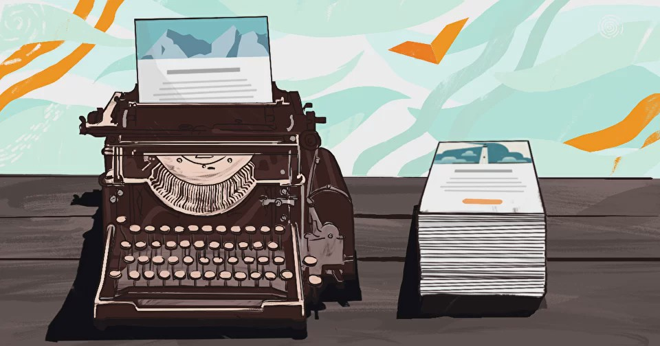 The illustration depicts a typewriter and a pile of letters
