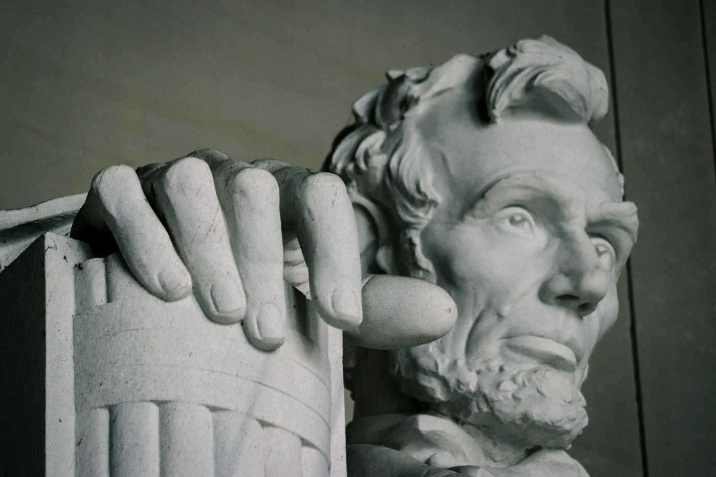 Lincoln Memorial; close-up of Abraham Lincoln's hands.