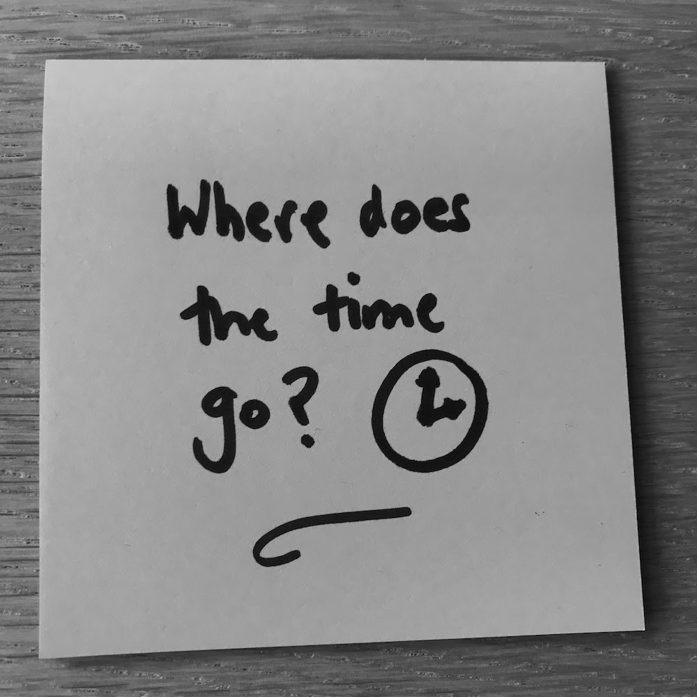 Black and white photo of a Post-It with 'Where does the time go?' and a drawing of a clock in black marker