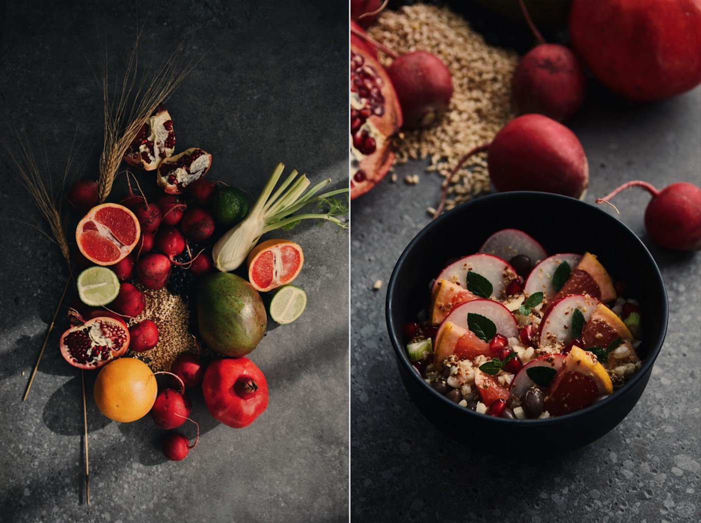 Two images of sustainable, healthy, locally grown food