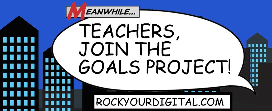 """Comic-style graphic with a cartoon cityscape and a speech bubble saying """"Teachers, join The Goals Project!"""""""