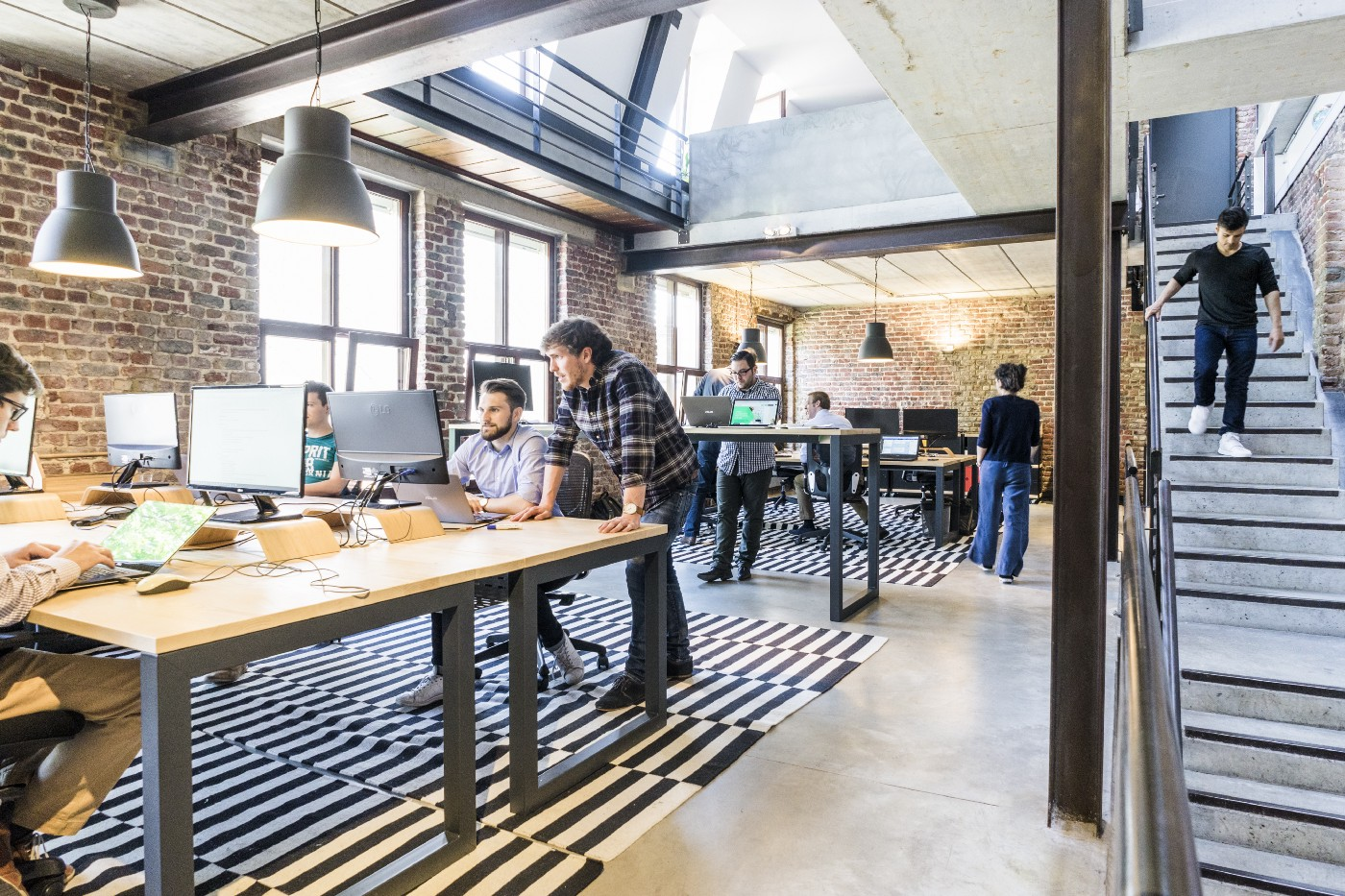 People working at an open office
