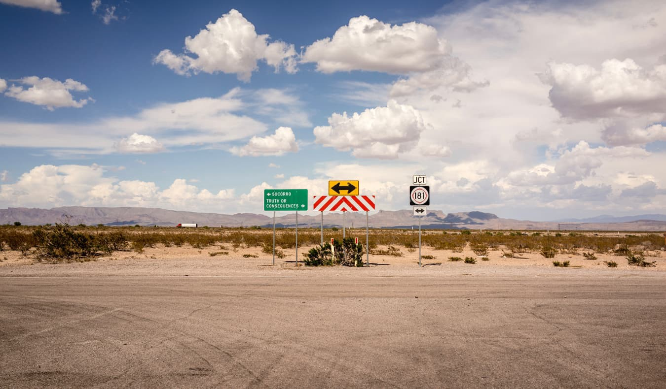 A road sign on an old road near Truth of Consequences, NM, USA