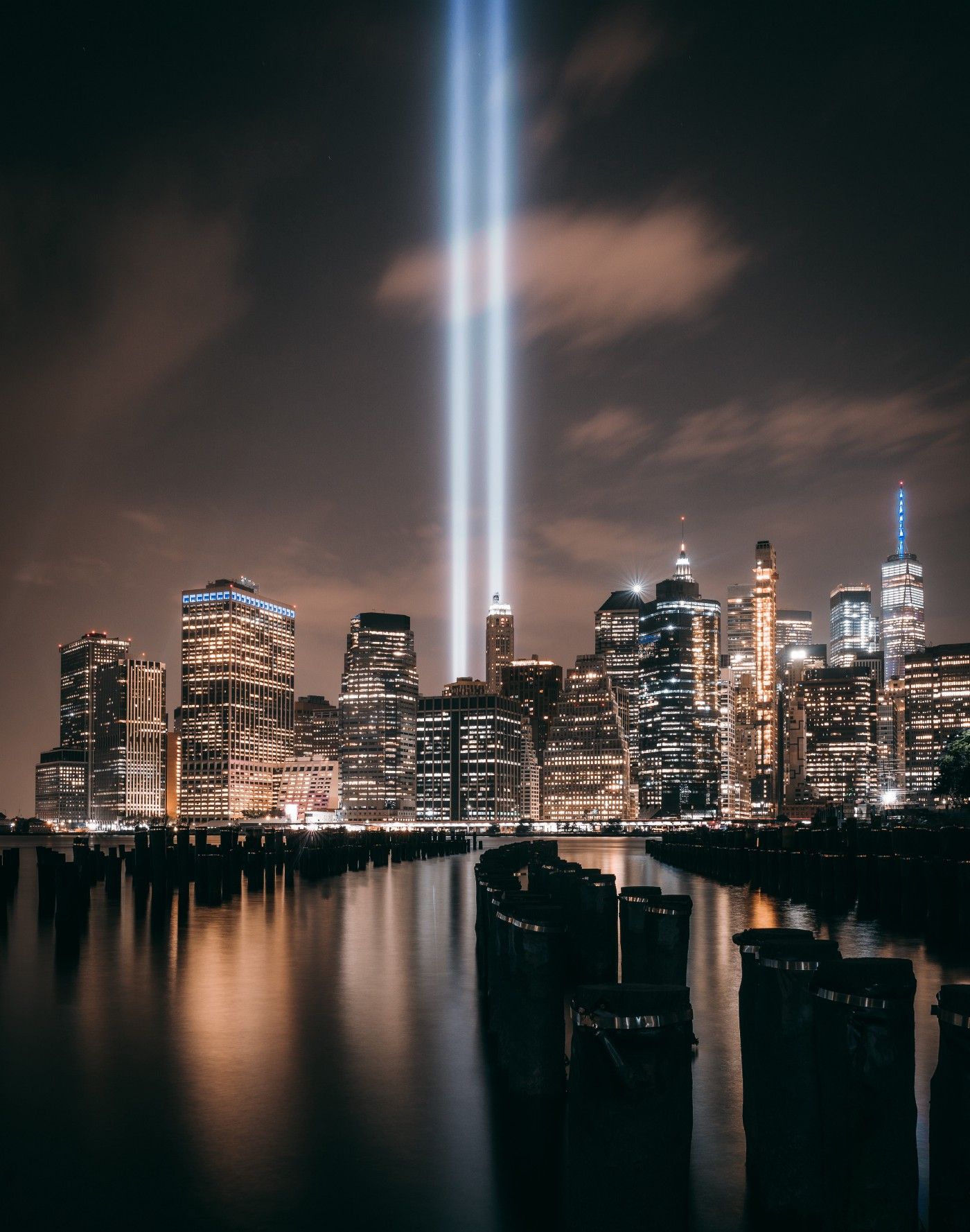 the ray beams of from the site of New York City's Twin Towers Beaming Toward the sky