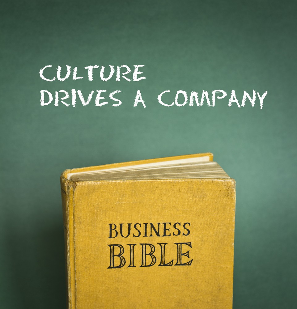 Business Bible commandment - Culture drives a company depicted on a book cover. It's important to research the culture of a company before applying for a job there.