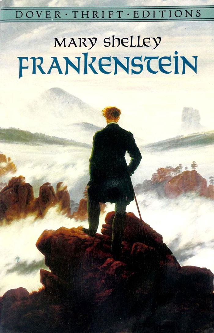 A painting of a man standing above a sea of fog atop a mountain.