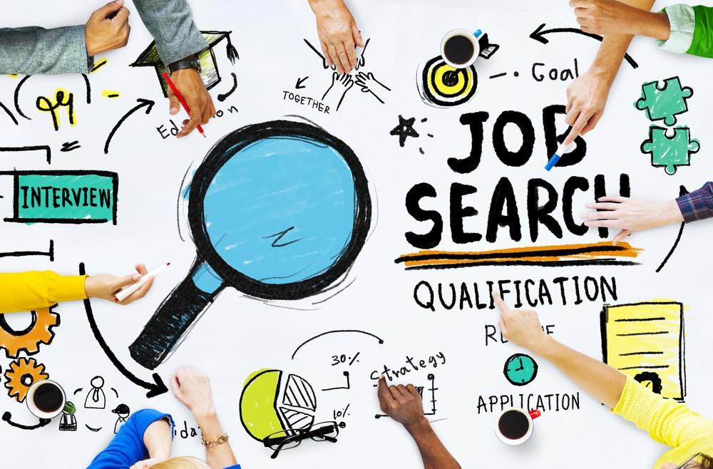 Diversity Hands Searching Job Search Opportunity Concept