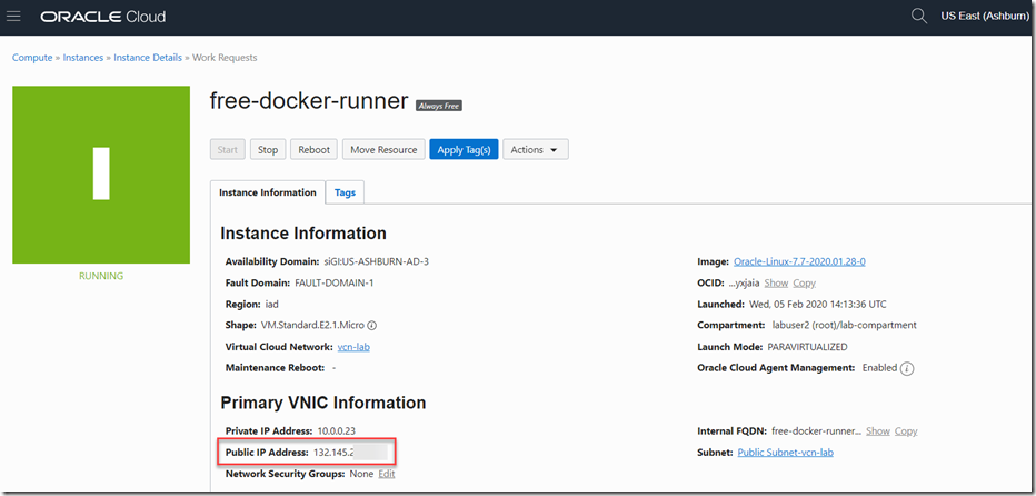 Example of running VM from [Oracle Developer Blog](https://medium.com/oracledevs/run-always-free-docker-container-on-oracle-cloud-infrastructure-c88e36b65610)