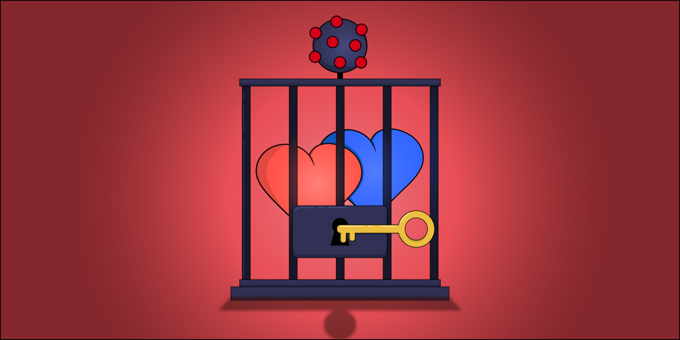 Two cartoon hearts in a cartoon prison with an emblem of the coronavirus on top.