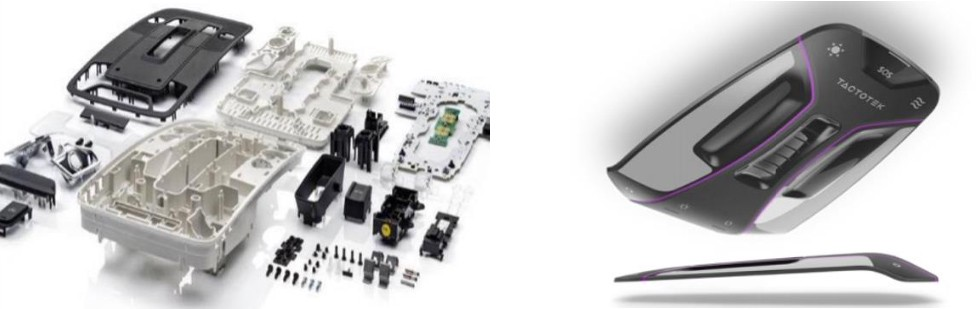On the left is an disassembled device, on the right is molded electronics
