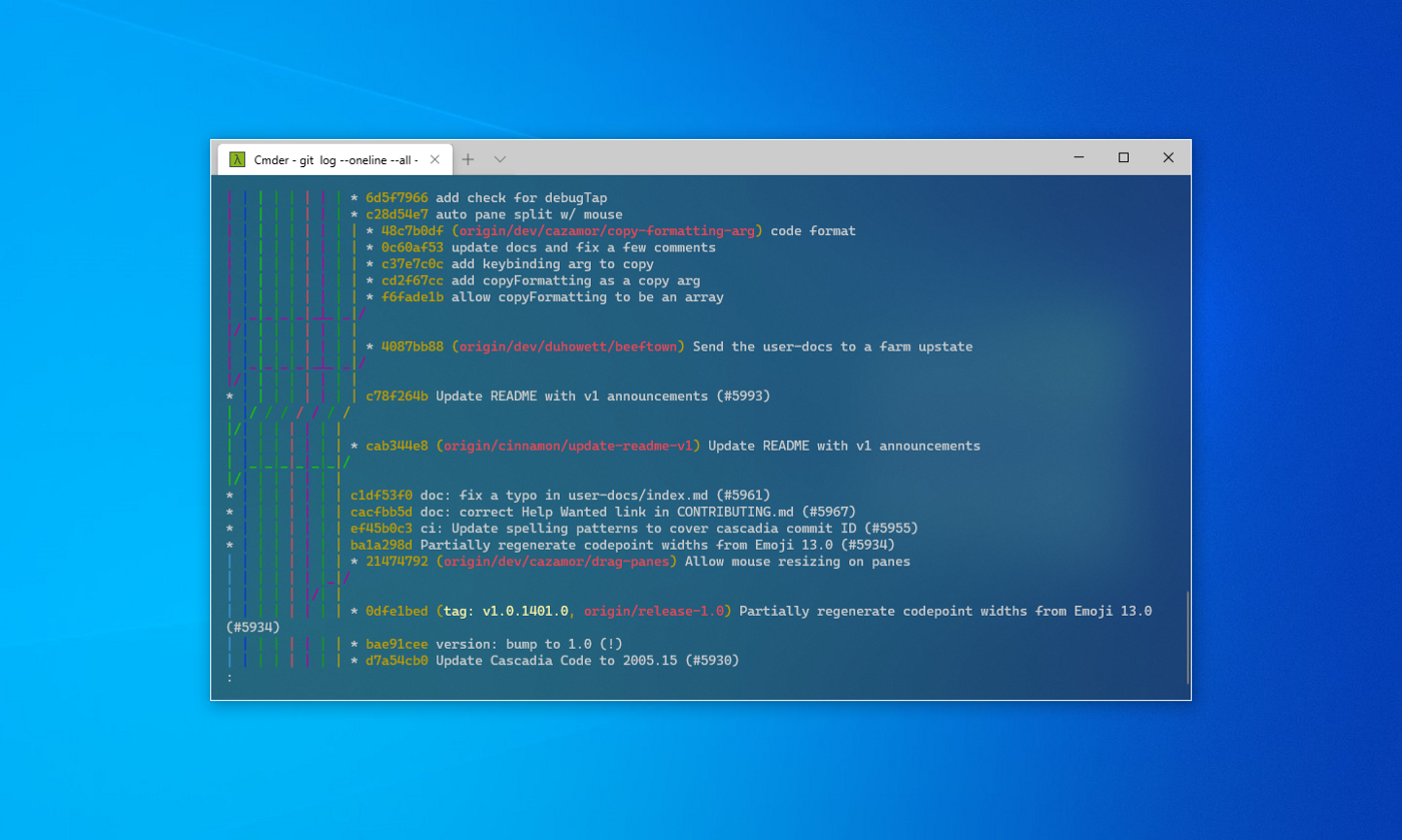 Windows Terminal with transparency effect
