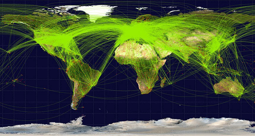 A world flight map with a lot of flights on it