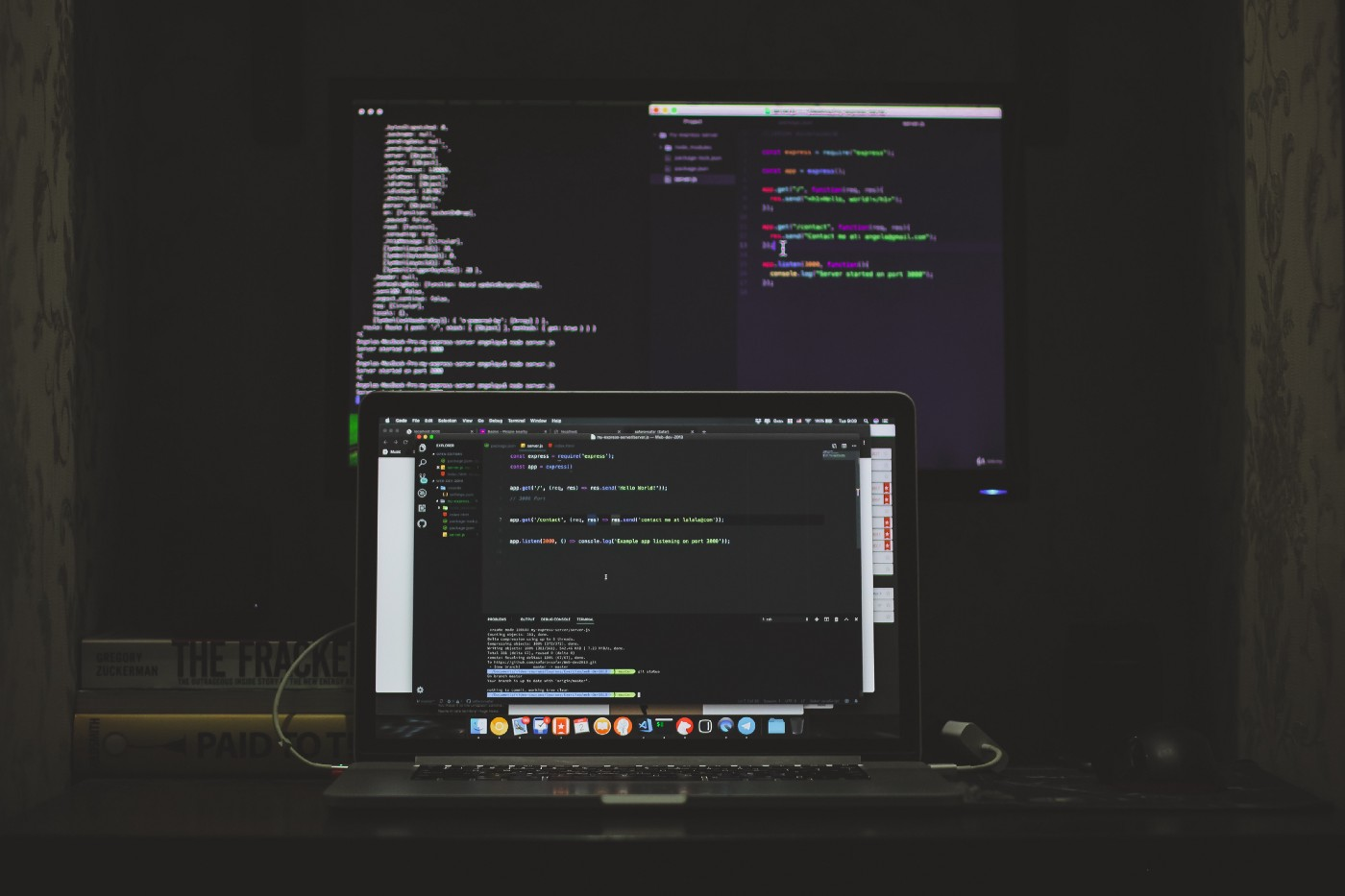 Computer code on two screens