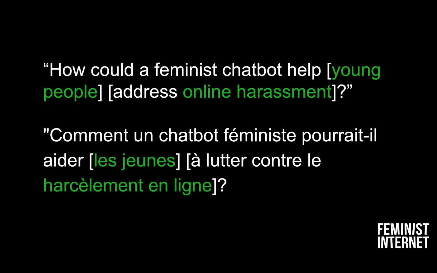 Screenshot of a workshop slide asking 'How could a feminist chatbot help young people address online harassment?'