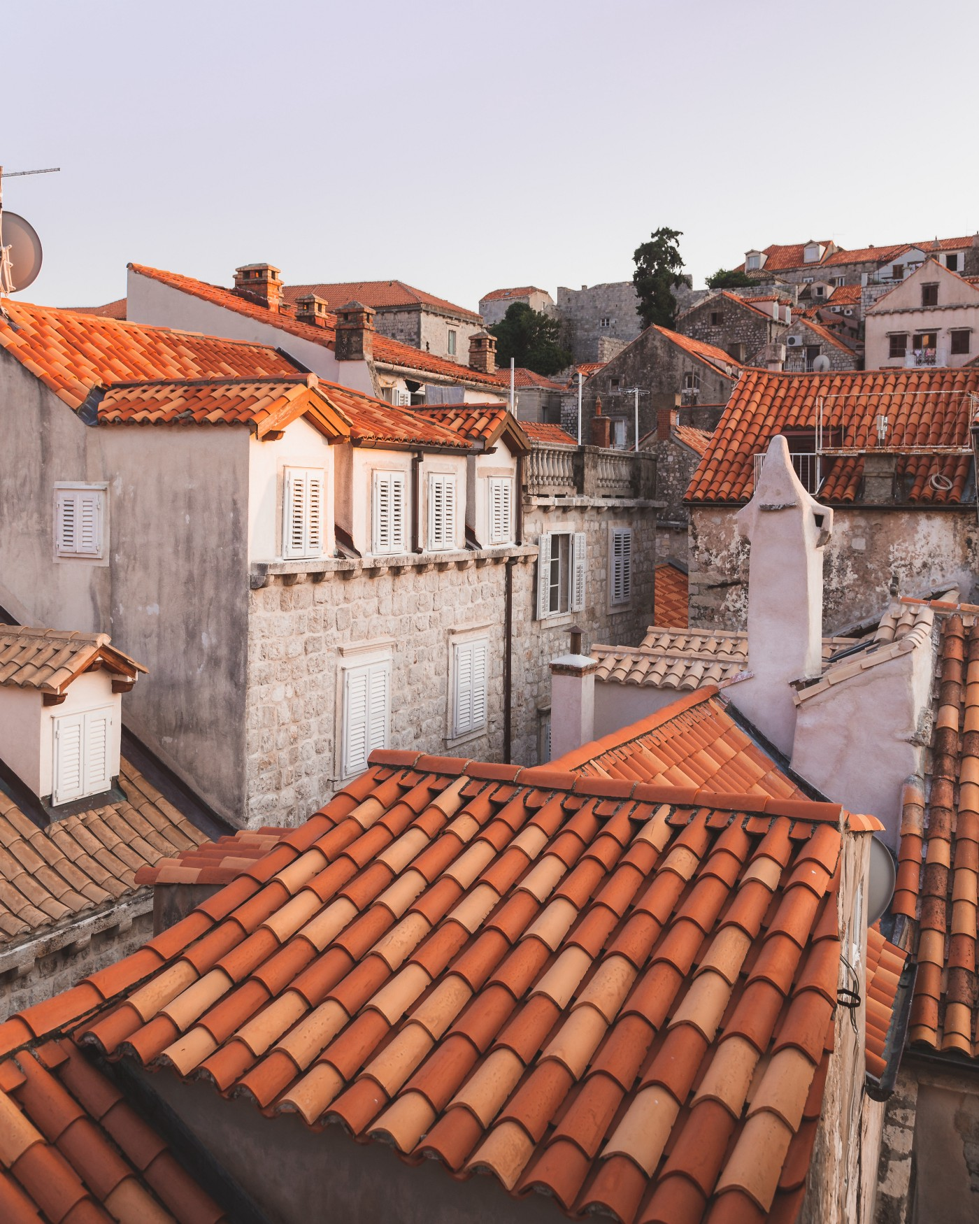 Looking down on rooftops.