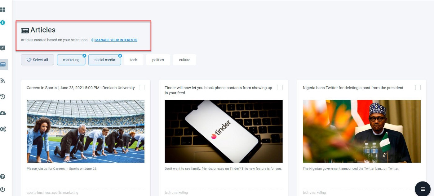 You may choose the best articles to keep your LinkedIn page active using Circleboom Publish!
