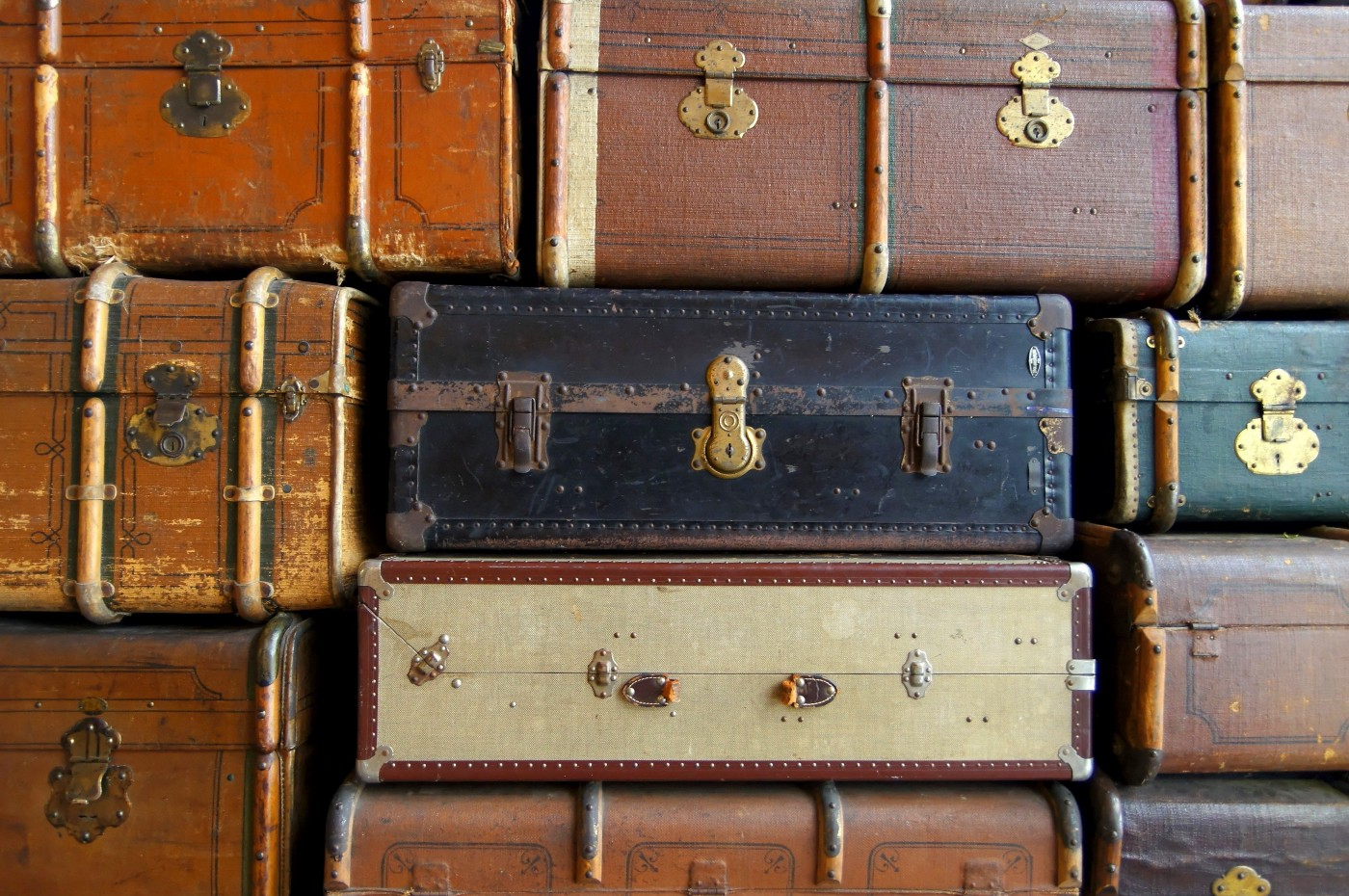 Old suitcases  stack, mostly leather, retro, travel