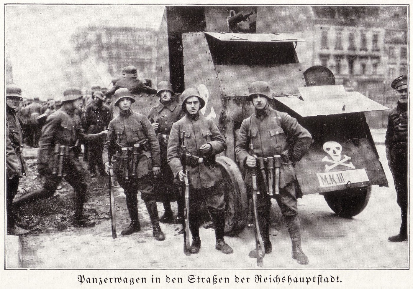 Pictured: German Freikorps, the reactionary armed wing of the ruling classes during the Spartacist uprising.