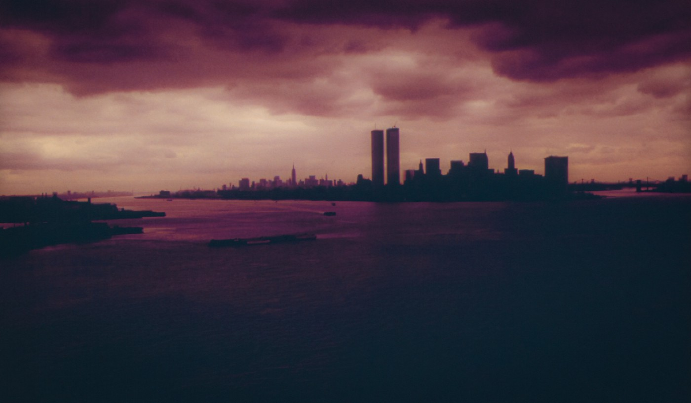 The New York City skyline sometime after the construction of the World Trade Center in 1973.