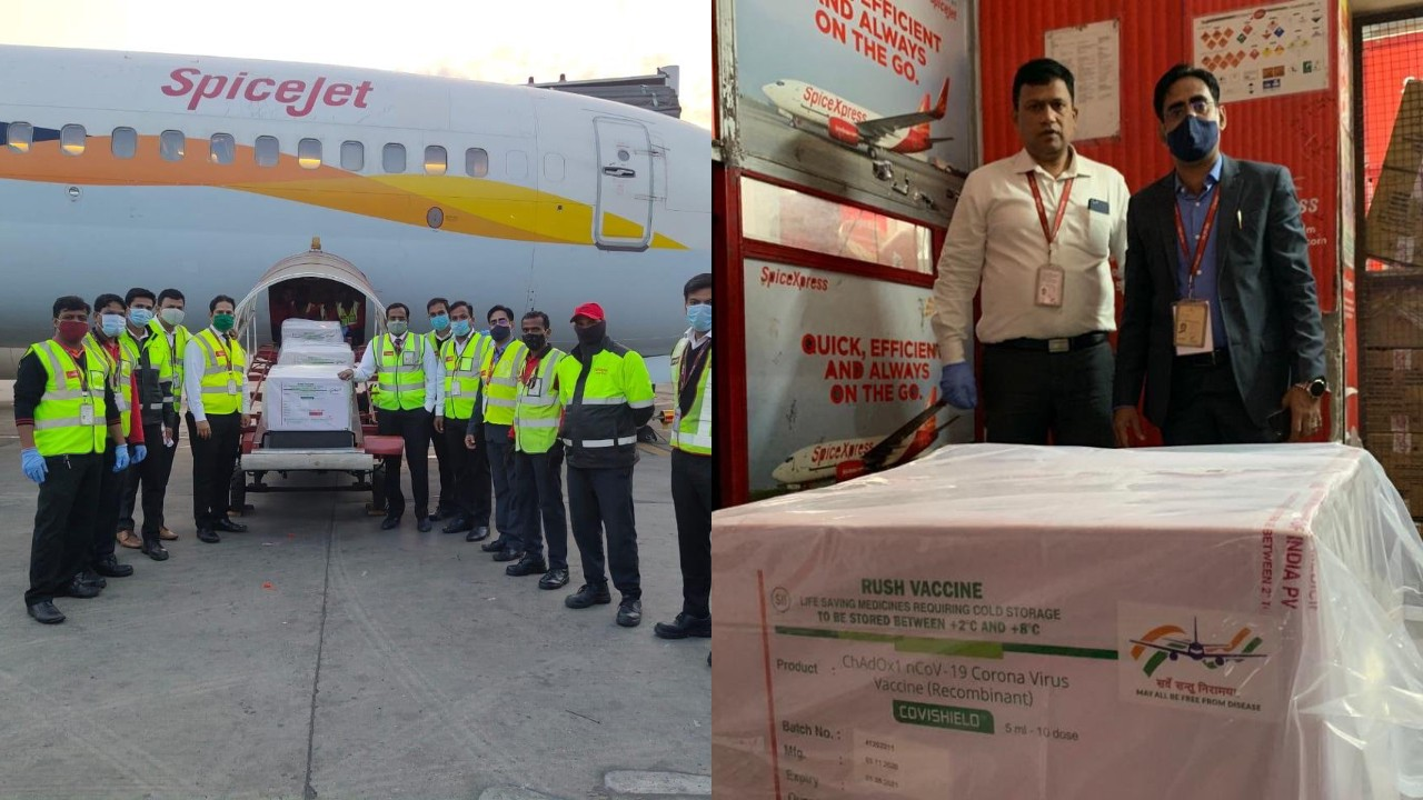 India's first consignment of COVID-19 vaccine 'Covidshield' carried from Pune to Delhi by SpiceJet