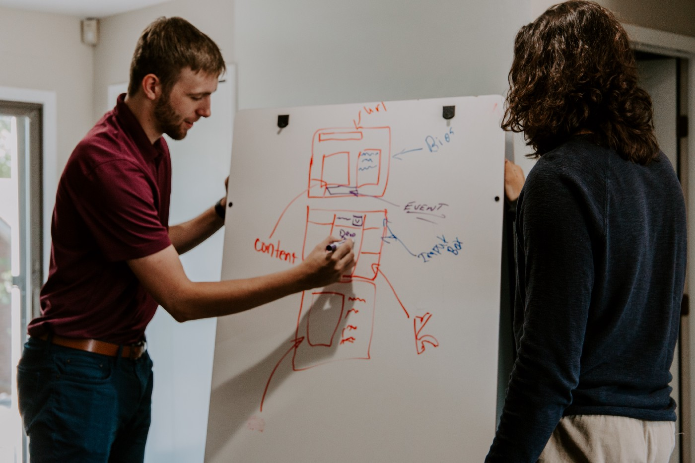 Two people working on a diagram