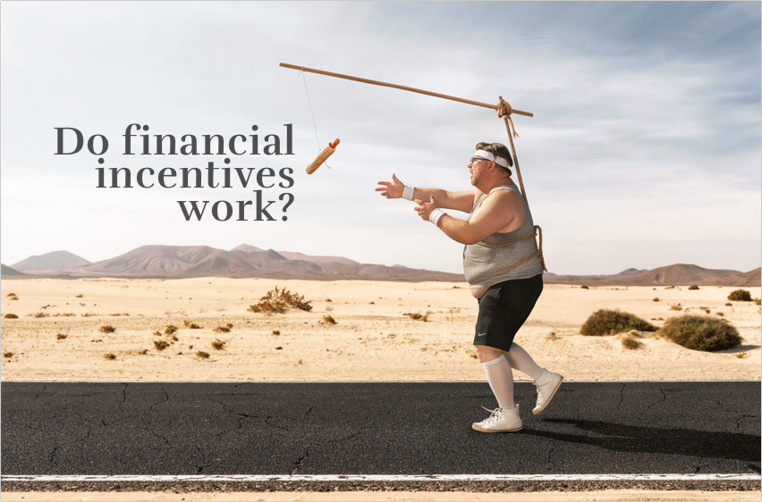 Man running after dangling carrot. Do financial incentives work?
