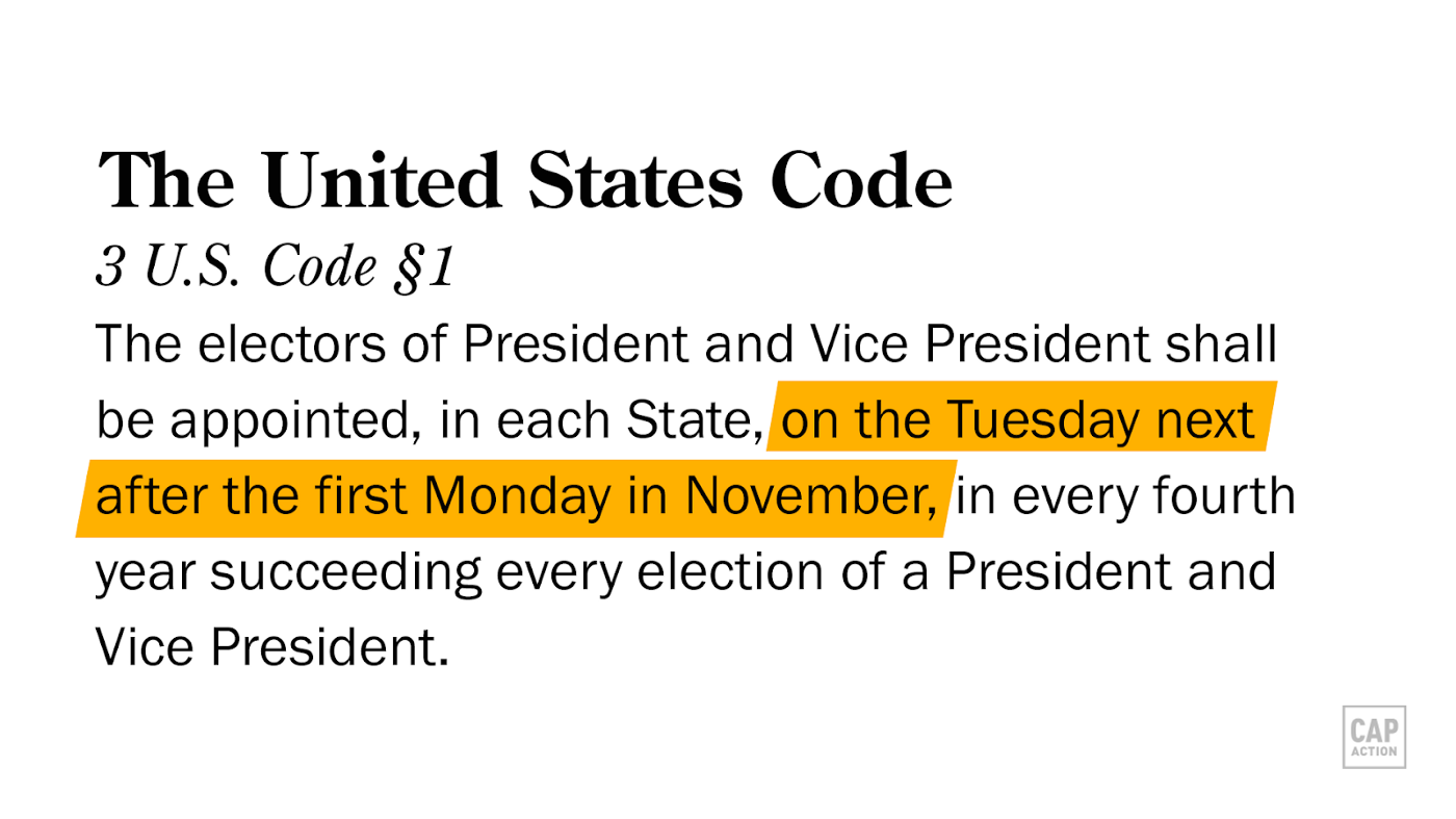 The U.S. Code states that the presidential election will be held on the Tuesday following the first Monday in November