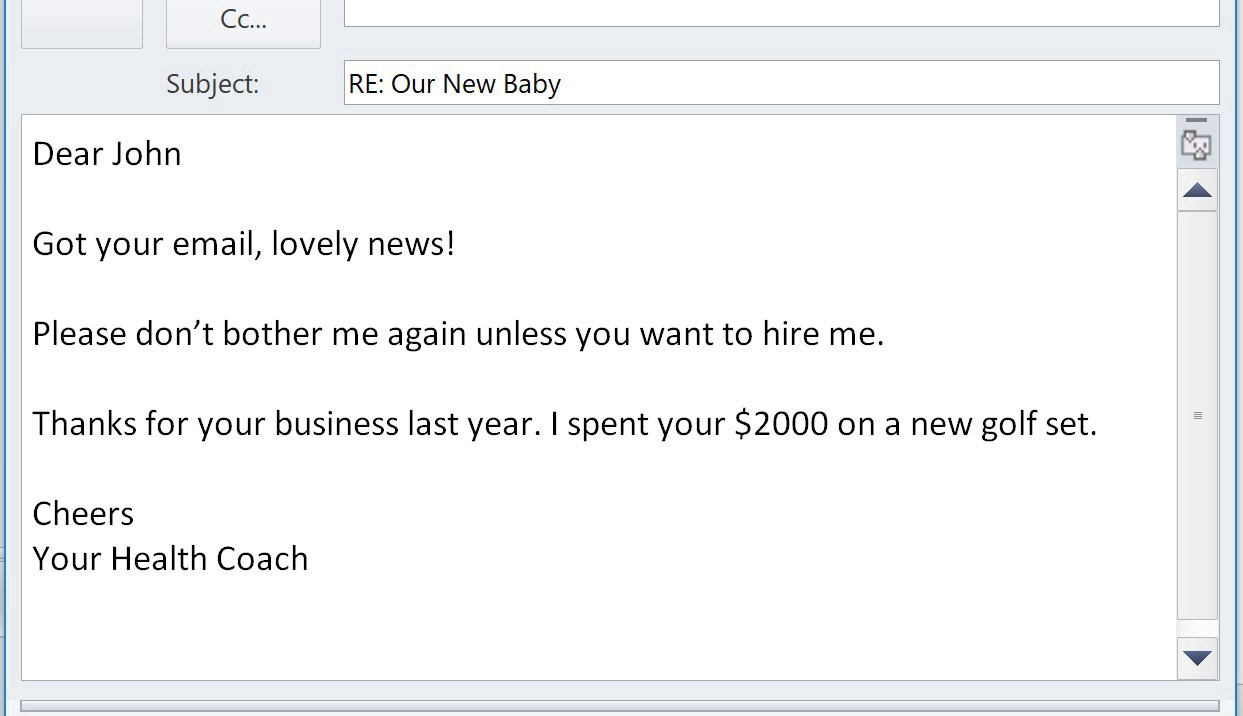 Screenshot of a  dismissive email response from a business to a customer