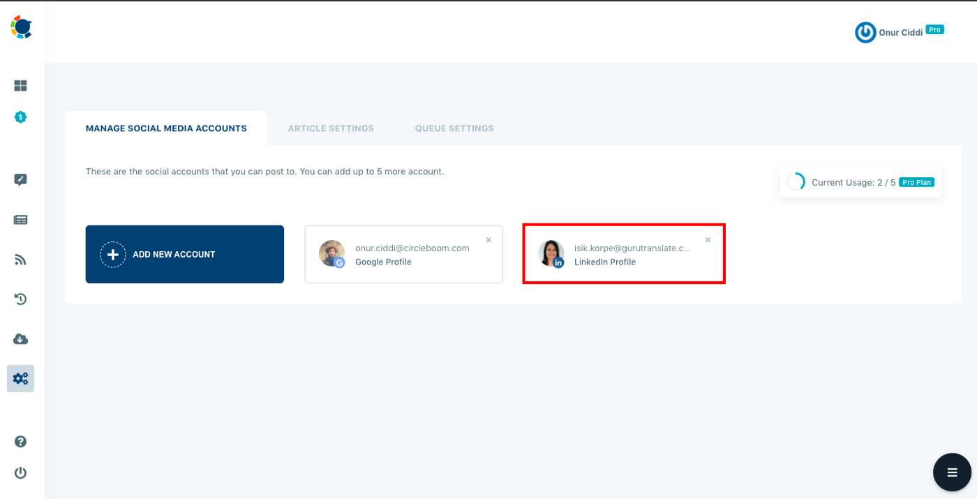 To manage multiple LinkedIn accounts, you should add all your accounts to Circleboom's dashboard.