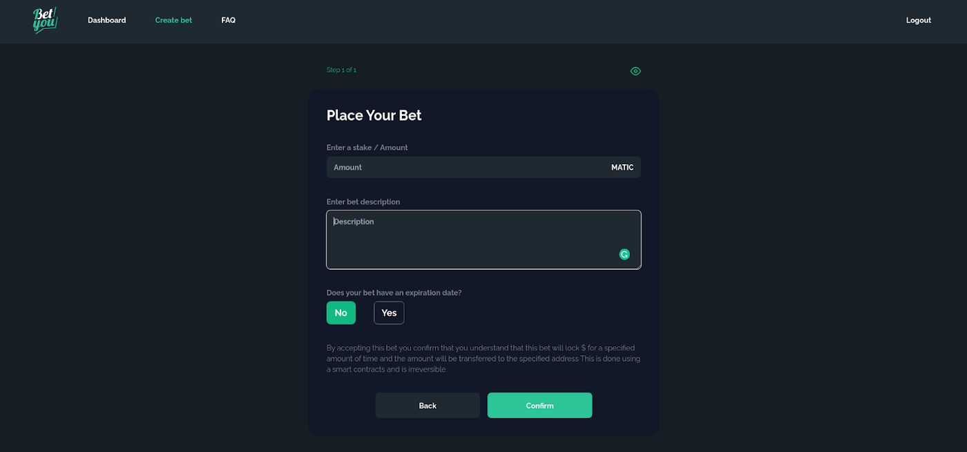 Placing the bet