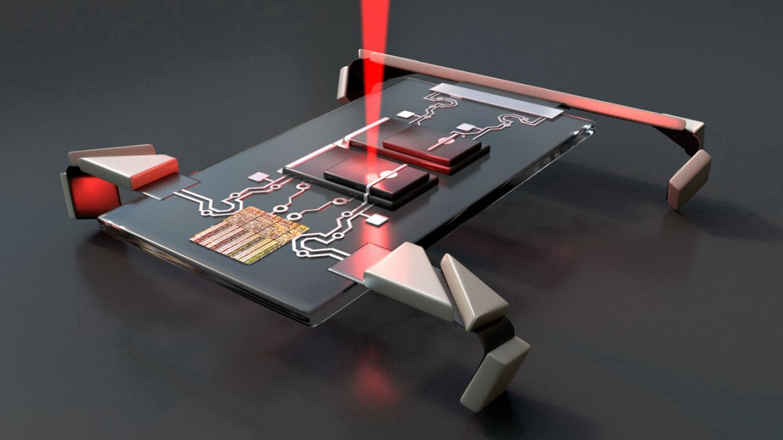 An illustration of the researchers' microscopic robot.