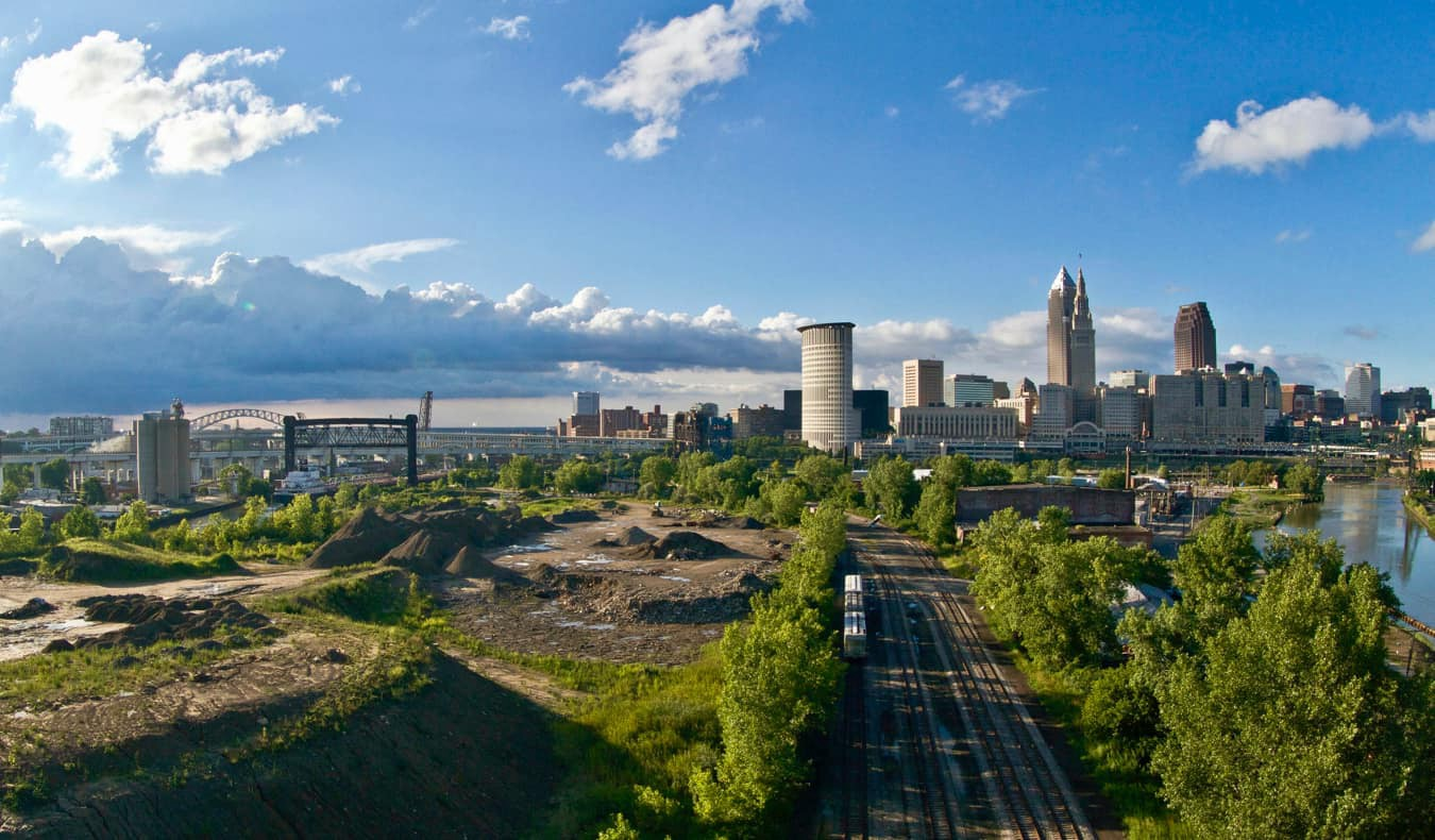 The Cleveland skyline as seen from the outskirts of the city near the train tracks