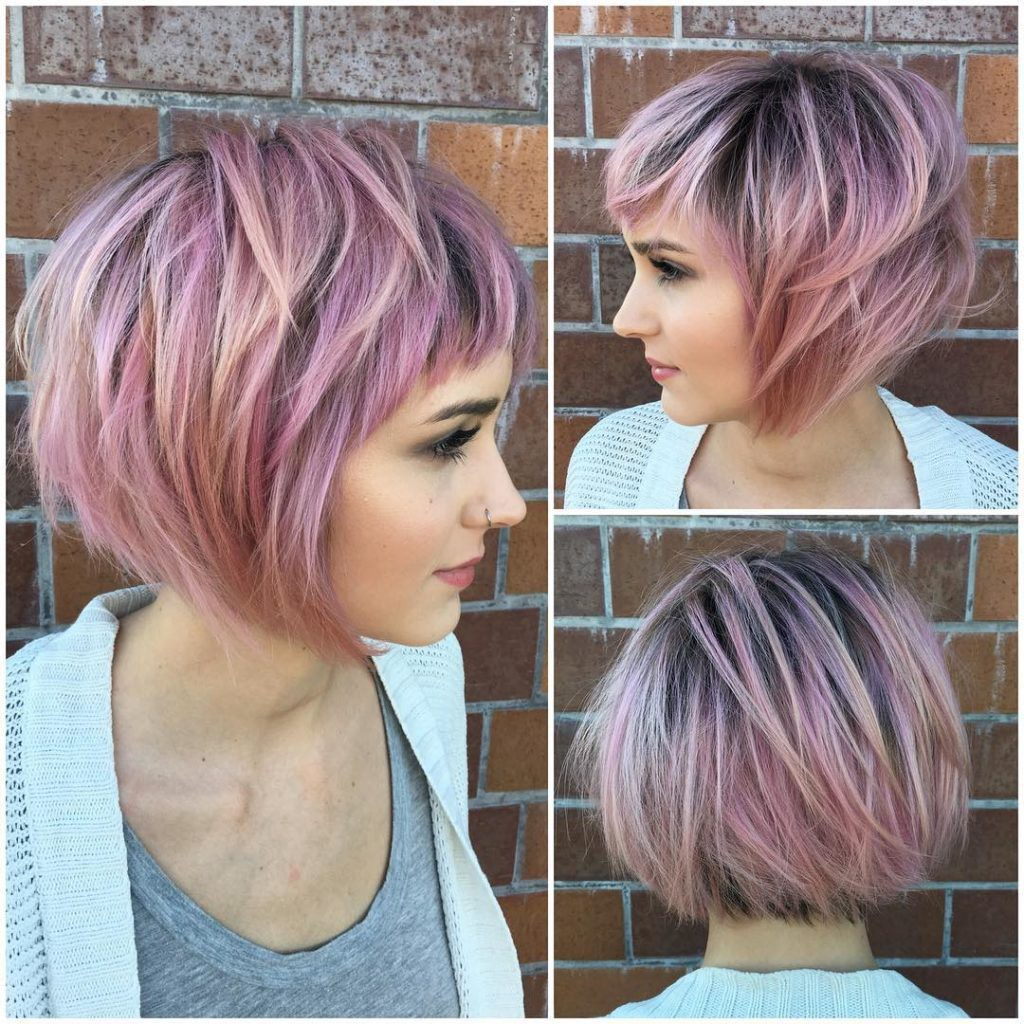 Short Messy Choppy Pink Highlighted Bob with Baby Bangs   by ...