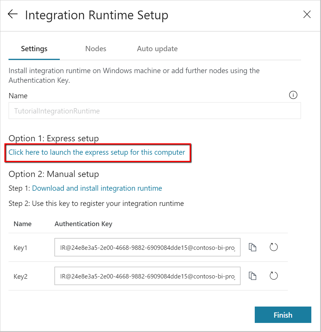 Copy data from an on-premises SQL Server database to Azure Blob