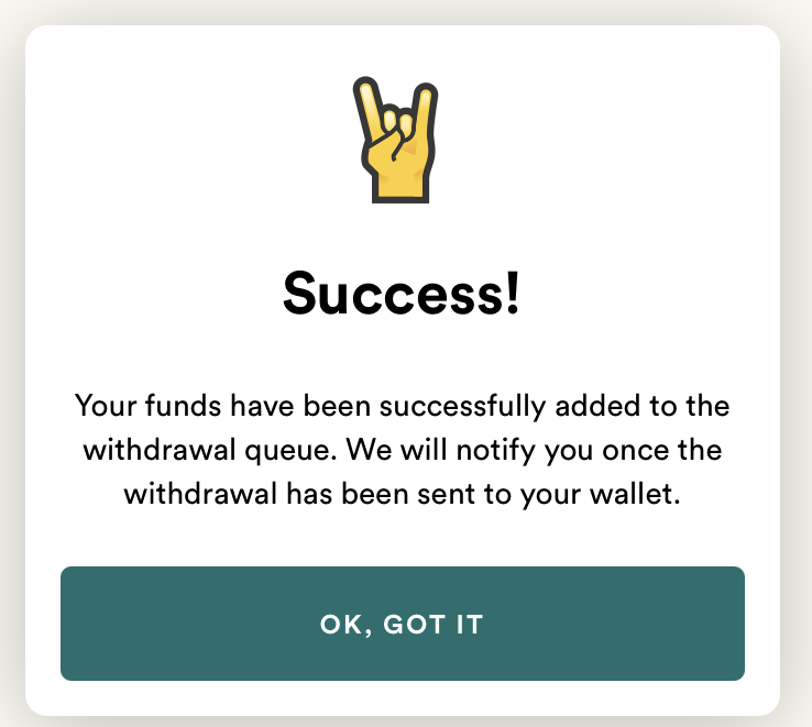Fold payout success message