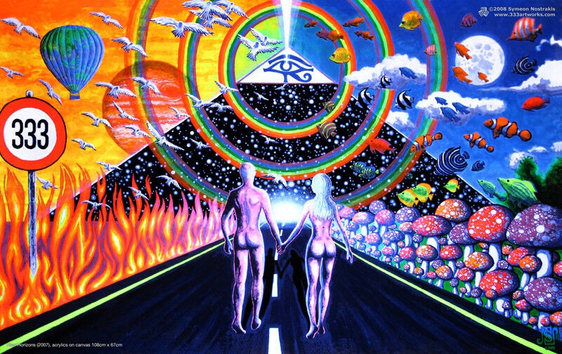 Psychedelic imagery graphic. Two people walking towards rainbow.